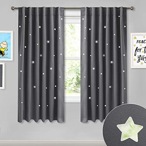 NICETOWN Bedroom Hollow Star Curtains - Naptime Essential Nursery Window Drapes for Star Wall Themed Kid's Room, Blackout Draperies with Die-Cut Twinkle Stars (Grey, 2-Panel Pack, W52 x L63-Inch)