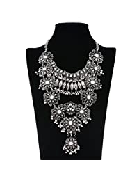 Houda Retro Alloy Long Hollow Pattern Flower Cluster Fringe Pendant Necklace Statement Jewelry
