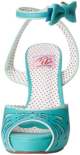 Faux 01 Bettie Pin Couture Sandal Up Teal Women's Leather qzn0w4T