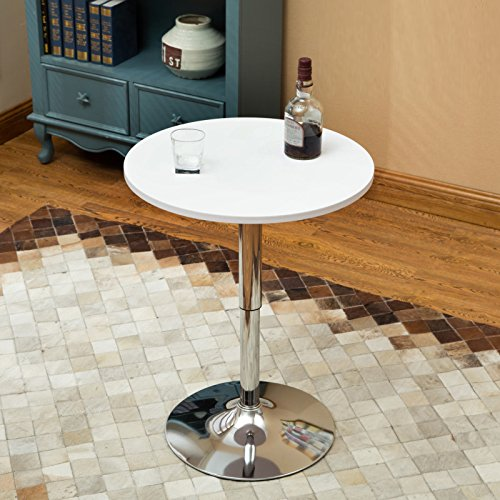 35 Inches Round Bar Table Adjustable Height Chrome Metal and Wood Cocktail Pub Table MDF Top 360°Swivel Furniture (White 1) by PULUOMIS (Image #9)