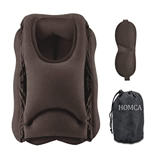 HOMCA Travel Pillow, Portable Head Neck Rest Inflatable Pillow, Design for Airplanes, Cars, Buses, Trains, Office Napping, Camping - Includes Free Eye Mask (Brown)