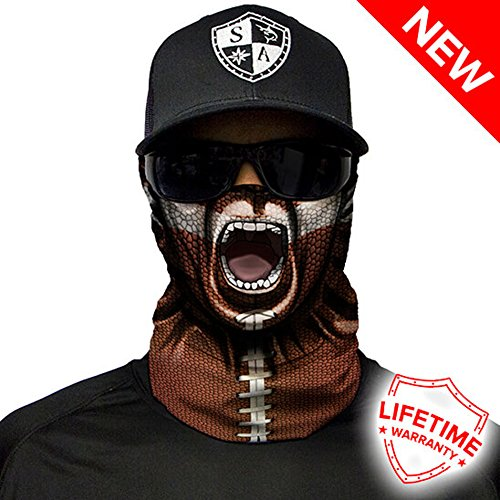SA Company Face Shield Micro Fiber Protect From Wind, Dirt and Bugs. Worn as a Balaclava, Neck Gaiter & Head Band For Hunting, Fishing, Boating, Cycling, Paintball and Salt Lovers. - Football Face (Mask Head Football)