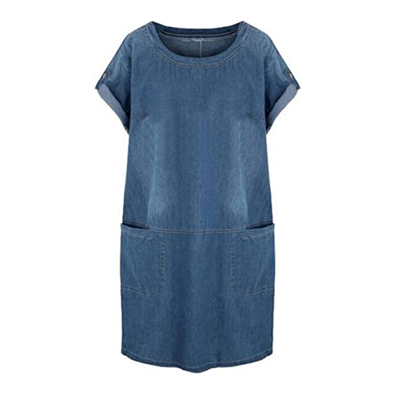 Hibote Frauen Kleid Kurzarm Denim Kleider Mini Plus Size Denim Jeans