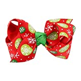 Gotd Baby Girls Hairpin Christmas Ornaments Bowknot Headdress Hair Accessory (05)