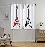 Cheap oobon Stylish Window Curtains,Guitar,Musical Instrument with V Shaped Design Famous Rock and Roll Strings Creativity,Multicolor,2 Panel Set Window Drapes,for Living Room Bedroom Kitchen Cafe