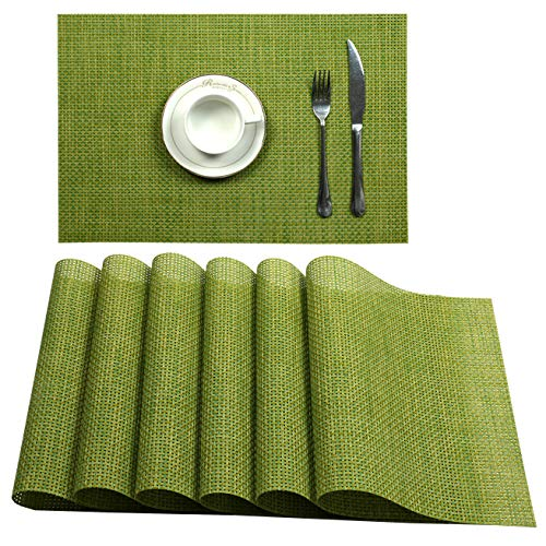 U'Artlines Set of 6 Placemats,Placemats for Dining Table,Heat-Resistant Placemats, Stain Resistant Washable PVC Table Mats,Kitchen Table mats (Placemats 6pcs, B Green)