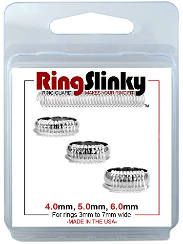 RingSlinky: Ring Size Reducer   Ring Guard   Ring Size Adjuster. Size: Mixed for rings 3 mm to 7 mm wide.