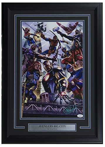 (Marvel Avengers Big City 11x17 Framed Lithograph Signed By Greg Horn JSA)