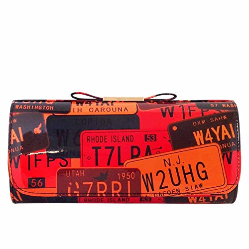 - JNB License Plate Faux Patent Leather Clutch with Bow, Orange