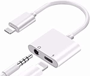 Headphone Adapter for iPhone 3.5mm Jack Adapter Connector Converter Audio Auxiliary Cable Aux Charge Cord Compatible for iPhone 7/7Plus/8/8Plus/X/11/XS/XR/XS MAX Support All iOS System