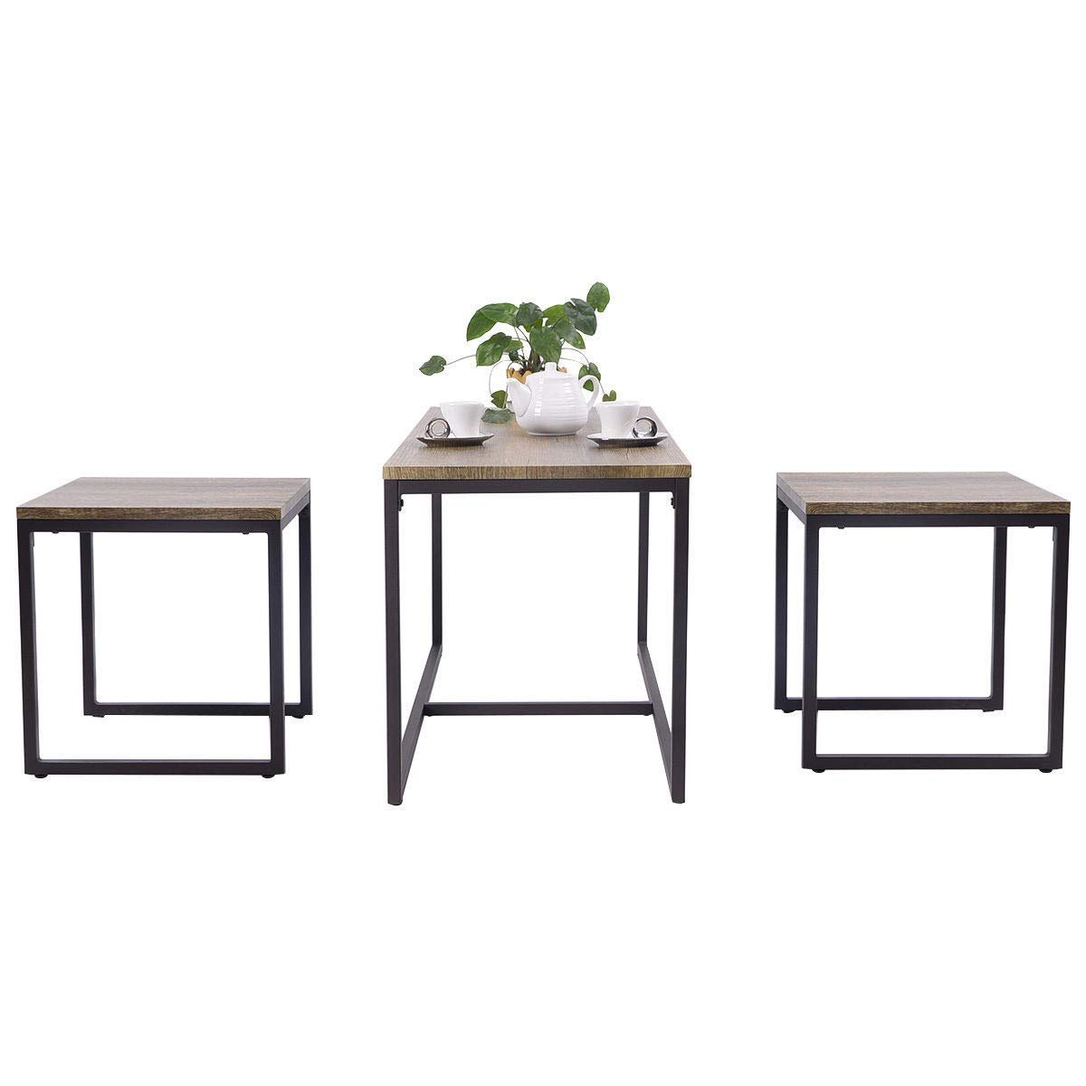Apontus 3 Piece Nesting Coffee & End Table Set Wood Modern Living Room Furniture Decor