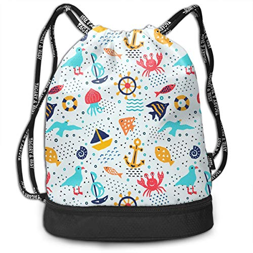 YyTiin Cartoon Seaworld Unisex Waterproof Drawstring Backpack Sports Dance Storage Bags Sackpack Gym Traveling Outdoor ()