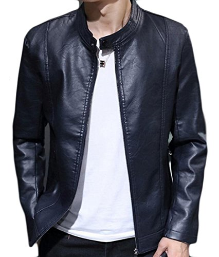 Casual Stand M amp;S Motorcycle amp;W Men Jacket Vintage Collar Leather 3 HtpqrXpwx