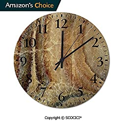 PUYANG Old Fashioned 12 Inch Round Hanging Wall Clock, Onyx Stone Surface Pattern Banded Variety Layered Differing Battery Operated, Rustic Wall Decor for The Living Room, Kitchen, Bedroom, and Patio