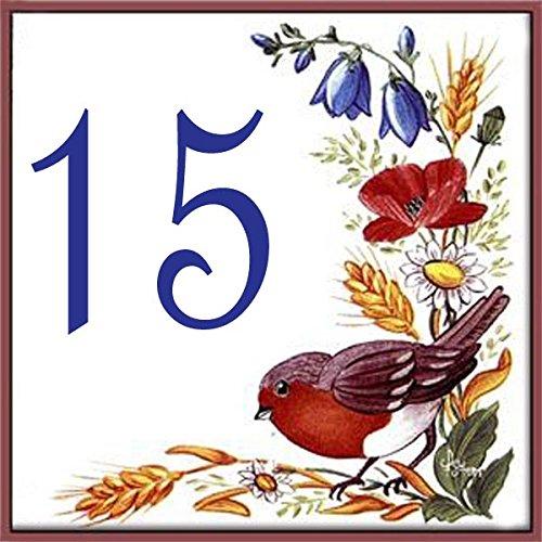 Azul'Decor35 Numéro de Rue en faience – 15x15x0, 5cm – Choisissez votre numéro! 5cm - Choisissez votre numéro! Azul'Decor35