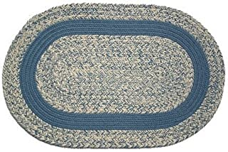 product image for Oval Braided Rug (5'x7'): Oatmeal Williamsburg Blue,- Williamsburg Blue Band