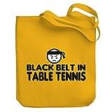 Teeburon BLACK BELT IN Table Tennis Canvas Tote Bag