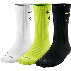 Nike Mens' Dri-FIT Cushioned Crew Athletic Socks 3 Pair L (Men's Shoe 8-12)