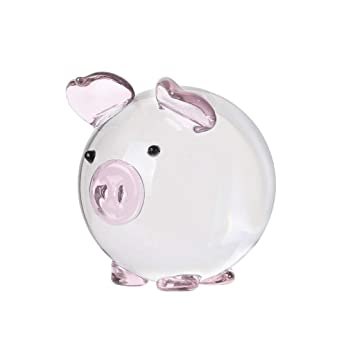 L Pig Piglet farm MINIATURE FIGURINE blown glass art mini collectible blue piggy