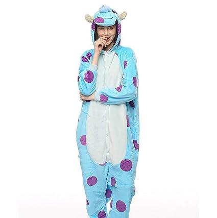 SHANGXIAN Adulto Unisexo Pijamas Animales Onesies Vaca Azul Jumpsuit Cosplay Franela Disfraz,L