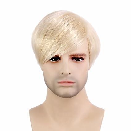 Peluca de pelo sintético STfantasy para hombre, corta, recta, peluca + capucha,