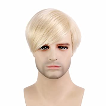 Stfantasy Wig for Men Male Short Straight Cosplay Synthetic Hair Peluca+Cap (11.5""