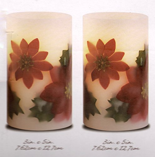 Christmas Poinsettia Real Wax LED Flameless Candles: Winter Holiday Design, 2 Piece Set with Dai ...