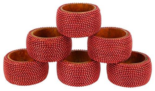 Aluminum Napkin Rings (Shalinindia Handmade Indian Red Aluminum Ball Chain Wooden Napkin Ring Set - Set of 6 Ring Napkin Holders - Industrial Chic Look - Made in India)