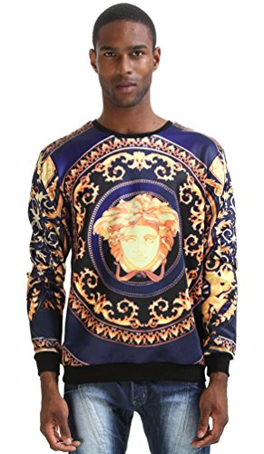 Washed Crewneck Sweater (Pizoff Mens Boys Students Long Sleeve Crew Neck 3D Luxury Floral Print Pullover Loose Sweatshirts Y0351-no4-M)
