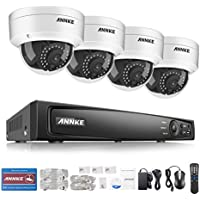 ANNKE Professional 1080P POE Security Camera System 6.0MP High Resolution NVR and (4) 2-Megapixel(1920x1080) 1920TVL CCTV Dome Cameras, No HDD Included