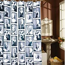 EUBEST 5.9' X 5.9' Retro Black and White Marilyn Monroe Shower Curtain with Hooks (Marilyn Monroe Style)