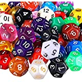 TecUnite 25 Pieces Polyhedral Dice Set with Black Pouch for DND RPG MTG and Other Table Games with Random Multi Colored Assortment (Assorted Color, 12 Sides)