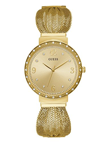 Ladies Strap Guess (Guess Women's Stainless Steel Mesh Strap Crystal Accented Watch, Color Gold-Tone (Model: U1083L2))