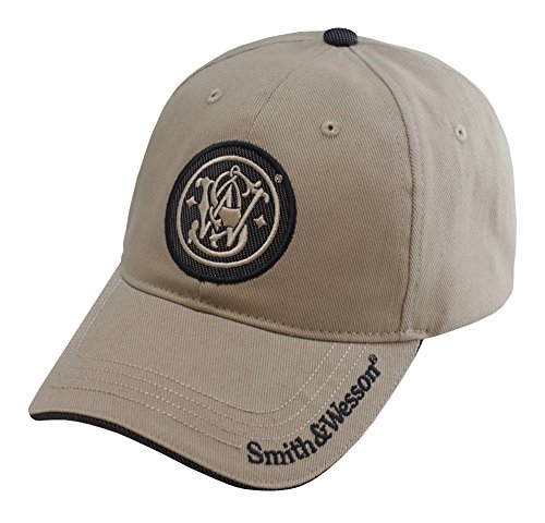 Smith & Wesson S&W Embroidered Circle Logo Cap with Brim Text - Officially Licensed Brown