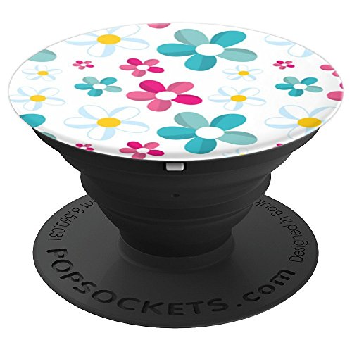 Daisy Flowers Wallpaper Colorful Pink Green White - PopSockets Grip and Stand for Phones and Tablets ()