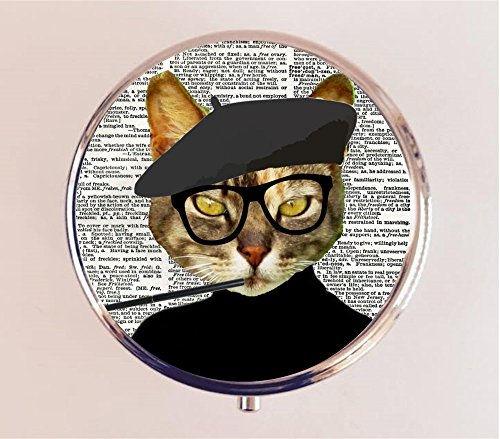 Beatnik Cat Pill Box Pillbox Case Holder Anthropomorphic Animal (Beatnik Cat)