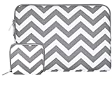 MOSISO Laptop Sleeve Compatible 13 Inch New MacBook Pro Touch Bar A1989 & A1706 & A1708 2018 2017 2016, Surface Pro 2017, Dell XPS 13, Chevron Style Canvas Tablet Bag Cover with Small Case, Gray