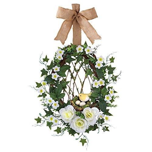 Spring Front Door Wreath with Burlap Ribbon & Floral Rattan Birds Nest