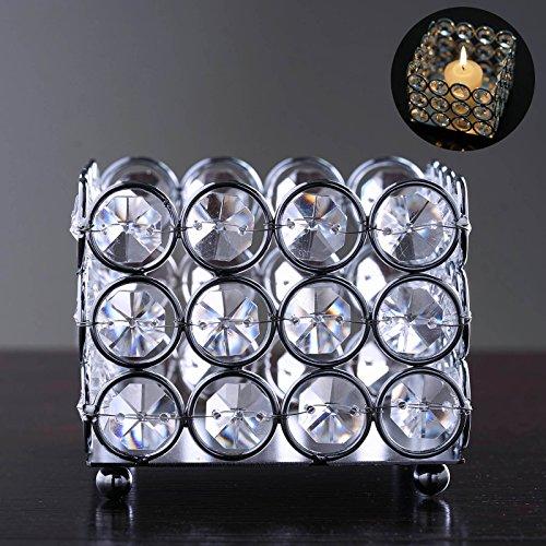 Efavormart Illuminating Square Votive Tealight Wedding Crystal Candle Holder - 3.25