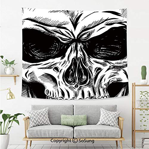 Halloween Wall Tapestry,Gothic Dead Skull Face Close Up Sketch Evil Anatomy Skeleton Artsy Illustration Decorative,Bedroom Living Room Dorm Wall Hanging,60X50 Inches,Black White]()