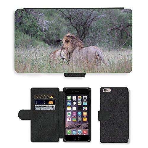 """Just Phone Cases PU Leather Flip Custodia Protettiva Case Cover per // M00129214 Lion Lionne Couple Paire Afrique // Apple iPhone 6 PLUS 5.5"""""""