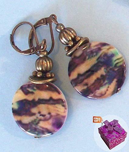 Beige Purple Black Lip Shell Swirl Color Earring Bronze Leverback Artisan Earrings For Women Set + Gift Box For Free ()