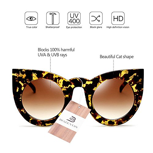 BOZEVON Lens Cute Rétro de de chat à Party Gradient Ambre Eyewear oeil Color Jaune Lunettes marron féminine soleil Mode A6qWpwPrA