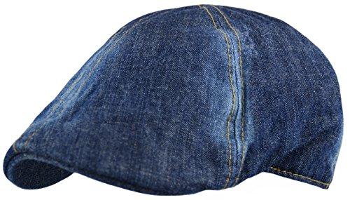 Men's Plain Cotton Duckbill Ivy Cap, Cabbie, Driving Hat, Golf Cap (Denim-Blue, - Denim Cap Ivy