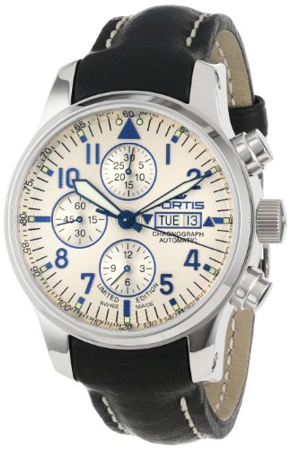 Fortis Men's 701.20.92 L.01 F-43 Flieger Chronograph Beige Dial Automatic Chronograph Date Leather Watch