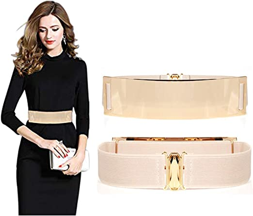 Famhome - Cinturón liso informal de piel con hebilla redondeada para mujer