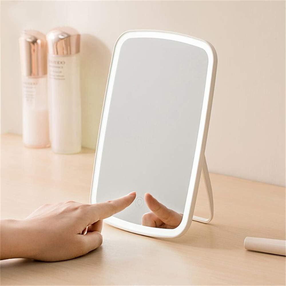 Original Xiaomi Mijia Espejo de maquillaje portátil inteligente Espejo de escritorio Luz LED portátil Espejo de luz plegable portátil Dormitorio de escritorio