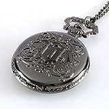Black Bullet Freedom Retro Bullet Freedom Pocket Watch Quartz Necklace Chain Pendant Gift Black P345