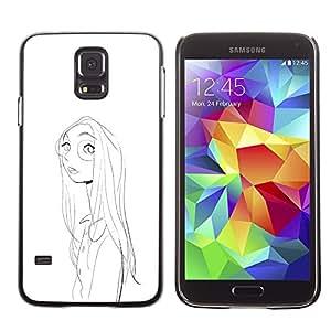 GOODTHINGS ( NO PARA S5 Mini ) Funda Imagen Diseño Carcasa Tapa Trasera Negro Cover Skin Case para Samsung Galaxy S5 SM-G900 - Retrato de la muchacha cara cristales dibujo a lápiz
