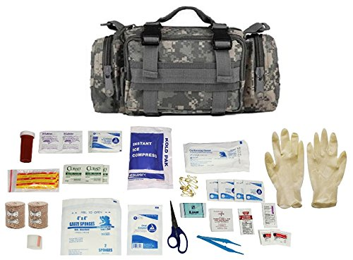 Tactical 5 in 1 Modular Deployment Compact Utility Carry Bag MOLLE Multi-Functional Survival Assault Transport Pack, ACU Camo + First Aid Trauma Fully Stocked Kit Contents Come In Polybag, USA MADE by Ultimate Arms Gear